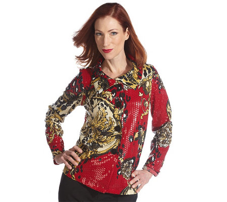 """As Is"" George Simonton Scroll Print Paillette Jacket"