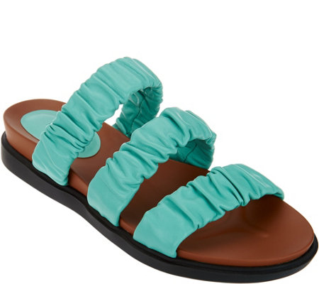 LOGO by Lori Goldstein Leather Elastic Strap Footbed Sandal