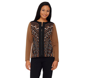 """As Is"" Bob Mackie's Printed Zip Front Scuba Knit Jacket - A277692"