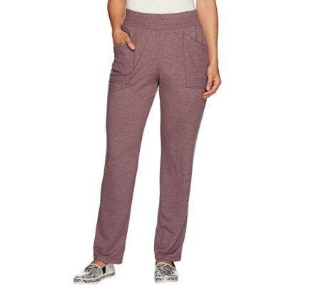 LOGO Lounge by Lori Goldstein French Terry Pants with Knit Detail