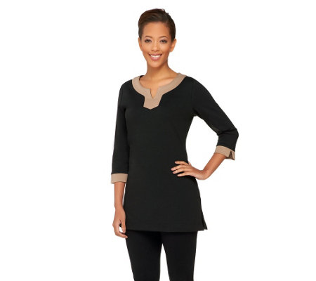 """As Is"" Liz Claiborne New York Ponte Knit Tipped Tunic"