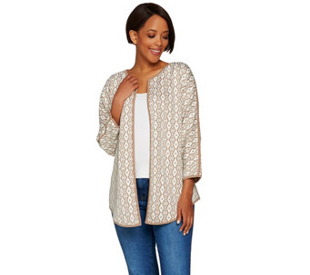 Studio by Denim & Co. Jacquard Open Front Cardigan - A279892