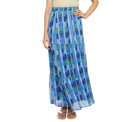 """As Is"" Isaac Mizrahi Live! Ikat Print Tiered Maxi Skirt"