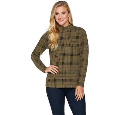 Denim & Co. Plaid Jacquard Mock Neck Long Sleeve Top