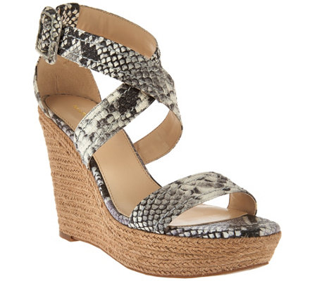"""As Is"" Marc Fisher Leather or Suede Buckle Espadrille Wedges - Haely"