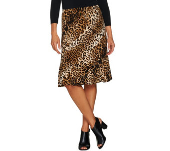 Susan Graver Printed Liquid Knit Skirt with Godets - A284792