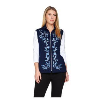 Bob Mackie's Floral Embroidered Zip Front Ponte Knit Vest