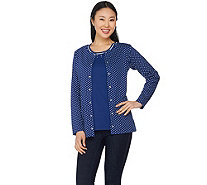 Quacker Factory Polka Dot Long Sleeve Cardigan and Tank Set - A287292