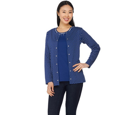 Quacker Factory Polka Dot Long Sleeve Cardigan and Tank Set