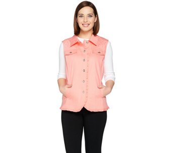 Quacker Factory Woven Ruffle Vest with Rhinestone Yoke - A287492