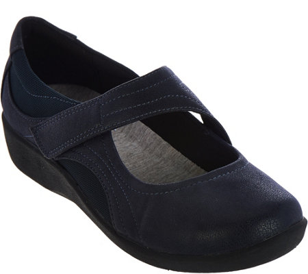 """As Is"" Clarks Cloud Steppers Adjustable Mary Janes - Sillian Bella"