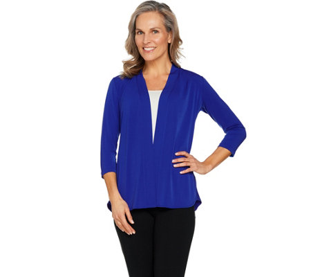 Susan Graver Liquid Knit Cardigan with Peplum Back