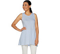 LOGO by Lori Goldstein Cotton Slub Striped Tank w/ Hi-Low Hem - A290492