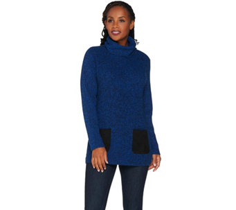"""As Is"" Susan Graver Cotton Acrylic Turtleneck with w/ Faux Suede - A291692"