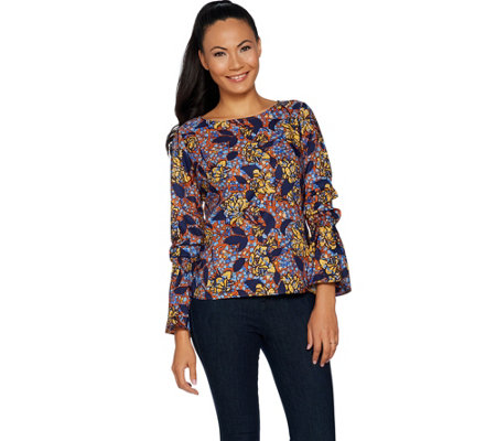 G.I.L.I. Long Sleeve Woven Top w/ Bell Sleeves