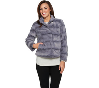 """As Is"" Dennis Basso Pelted Faux fur Jacket - A293192"
