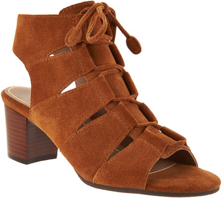 Vionic Suede Lace-up Sandals - Bristol