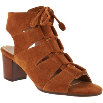 Vionic Orthotic Suede Lace-up Sandals - Bristol