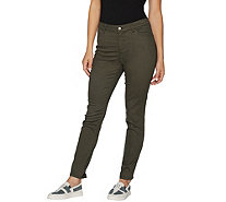 LOGO by Lori Goldstein 5-Pocket Stretch Sateen Skinny Pants - A294492