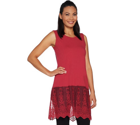 Kathleen Kirkwood Tunic Length Tank Top with Lace Extender