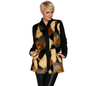LOGO by Lori Goldstein Faux Fur & Quilted Jacket - A297092