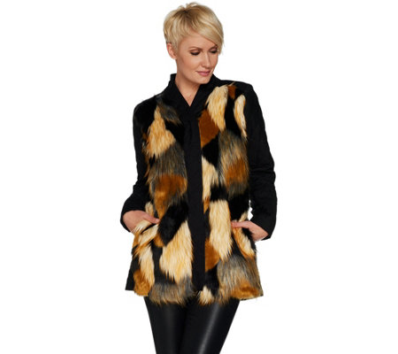 LOGO by Lori Goldstein Faux Fur & Quilted Jacket