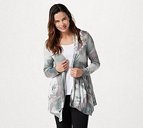 LOGO by Lori Goldstein Knit Open Front Printed Cardigan - A305492