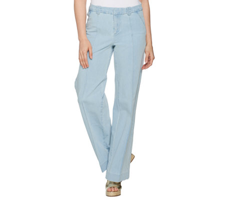 """As Is"" Isaac Mizrahi Live! Reg. 24/7 Denim Fly Front Wide Leg Jeans"