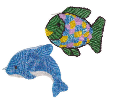 Set of 2 Beaded  Fish & Dolphin Coin Purses
