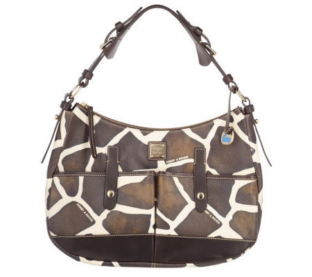 Dooney & Bourke Medium Giraffe Print Safari Hobo Bag with Pockets