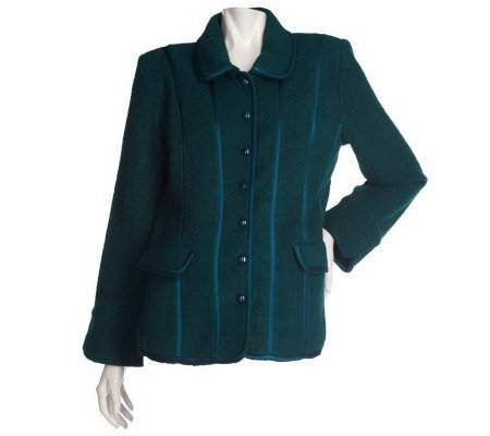 Linea by Louis Dell'Olio Boucle Jacket with Satin Trim
