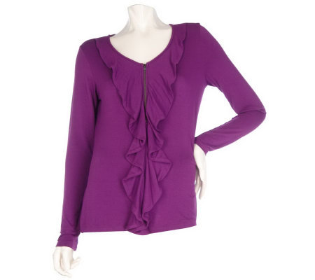 M by Marc Bouwer Zip Front Cardigan with Ruffle Detail