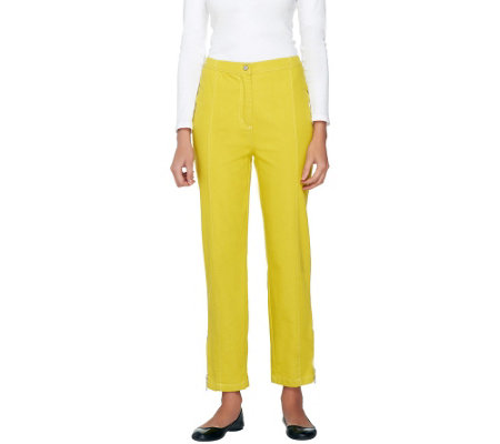 Bob Mackie's Button Front Pants with Ankle Zip and Seaming