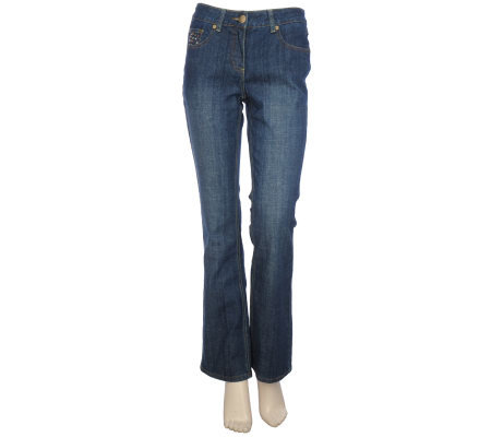 Bradley by Bradley Bayou Stretch Denim Boot-cut Jeans with Nailheads