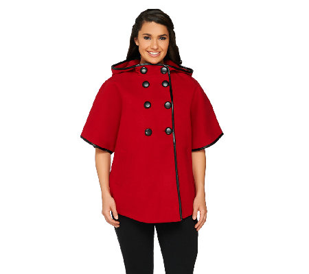 Centigrade Button Front Cape with Faux Leather Trim