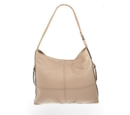 Tignanello Glove Leather Hobo Bag with Side Zippers