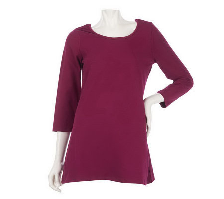Women with Control 3/4 Sleeve Scoop Neck A-Line Tunic