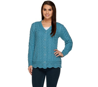 Aran Craft Merino Wool Button Front Scalloped Cardigan - A231193