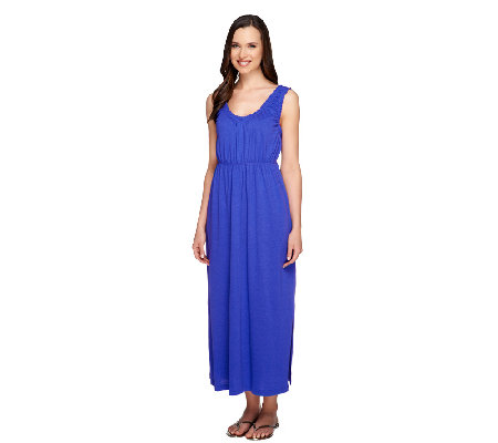 Stan Herman Rayon Jersey Sleeveless Maxi Dress with Ruffles