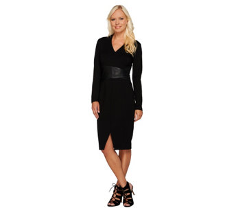 H by Halston Ponte Dress with Leather Wrap Waist Detail - A234393
