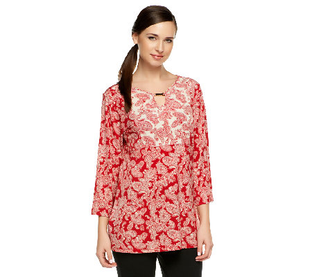 Susan Graver Liquid Knit Twin Print 3/4 Sleeve Top with Keyhole Neck