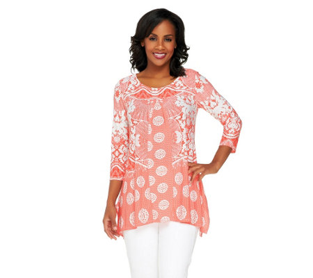 Attitudes by Renee Regular Printed Tunic with Front Pleat