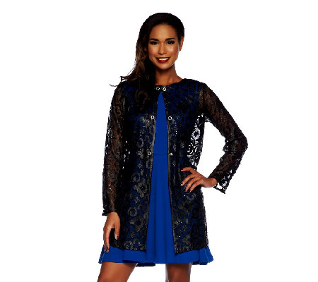 Bob Mackie's Long Sleeve Faux Leather & Sequin Detail Sheer Jacket