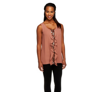 Kelly by Clinton Kelly Sleeveless Ruffle Front Blouse - A252793
