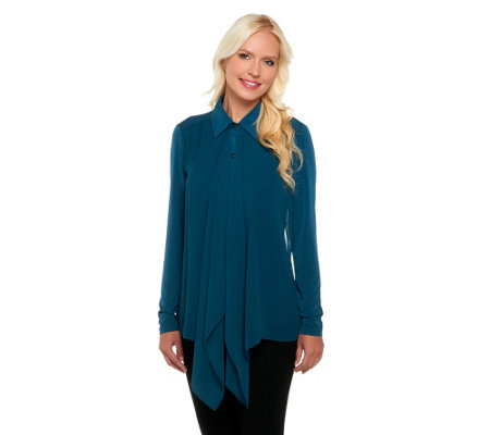 George Simonton Draped Front Button Down Knit Shirt