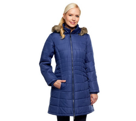 """As Is"" Susan Graver Puffer Coat with Removable Trimmed Hood"