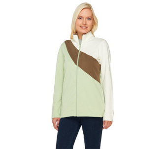 Denim & Co. Active French Terry Color Blocked Jacket - A260493
