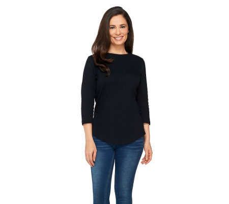 Isaac Mizrahi Live! Essentials 3/4 Sleeve Curved Hem Top