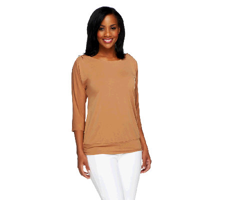 """As Is"" Susan Graver Liquid Knit Scoop Neck Split Sleeve Top"