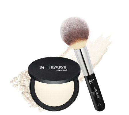 IT Cosmetics Bye Bye Pores Pressed Silk Airbrush Powder with Luxe Brush
